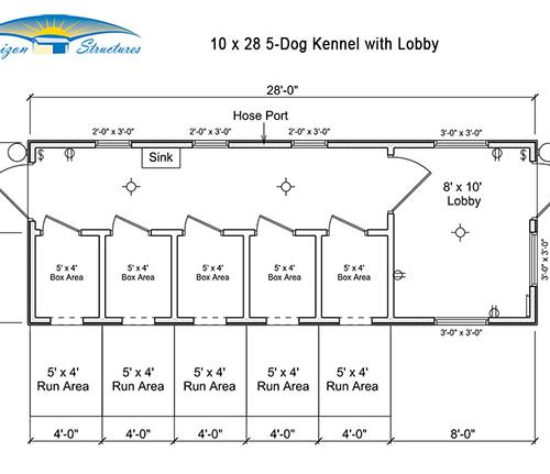 10x28 5 Dog Kennel with Lobby Layout