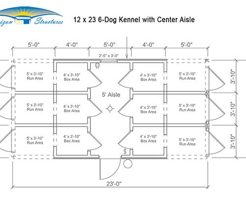 12x23 6 Dog Kennel with Center Aisle Layout