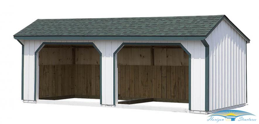 12x24 run-in shed white paint green trim