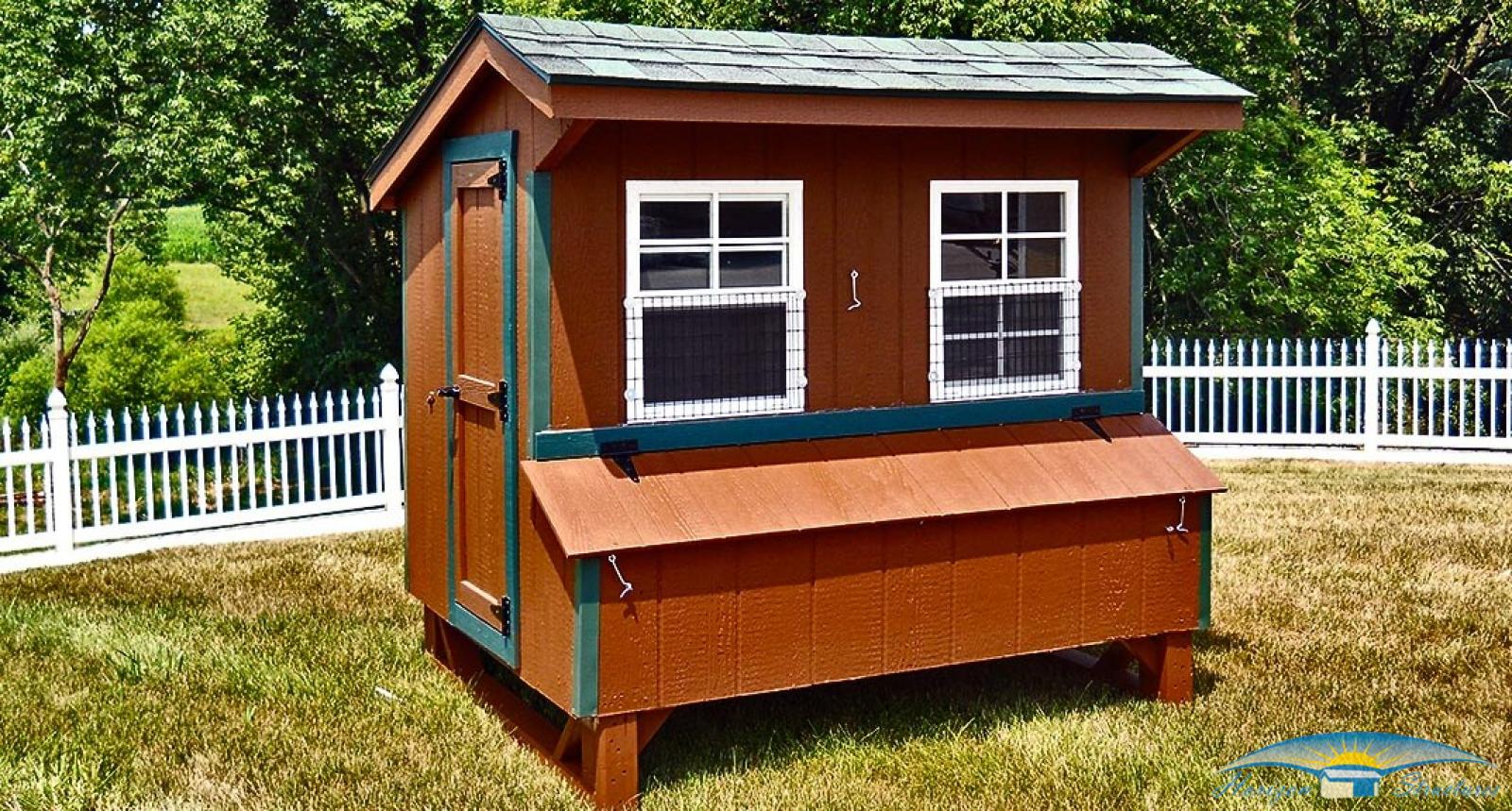 chicken-coop-5x6-brown-siding-green-trim_0