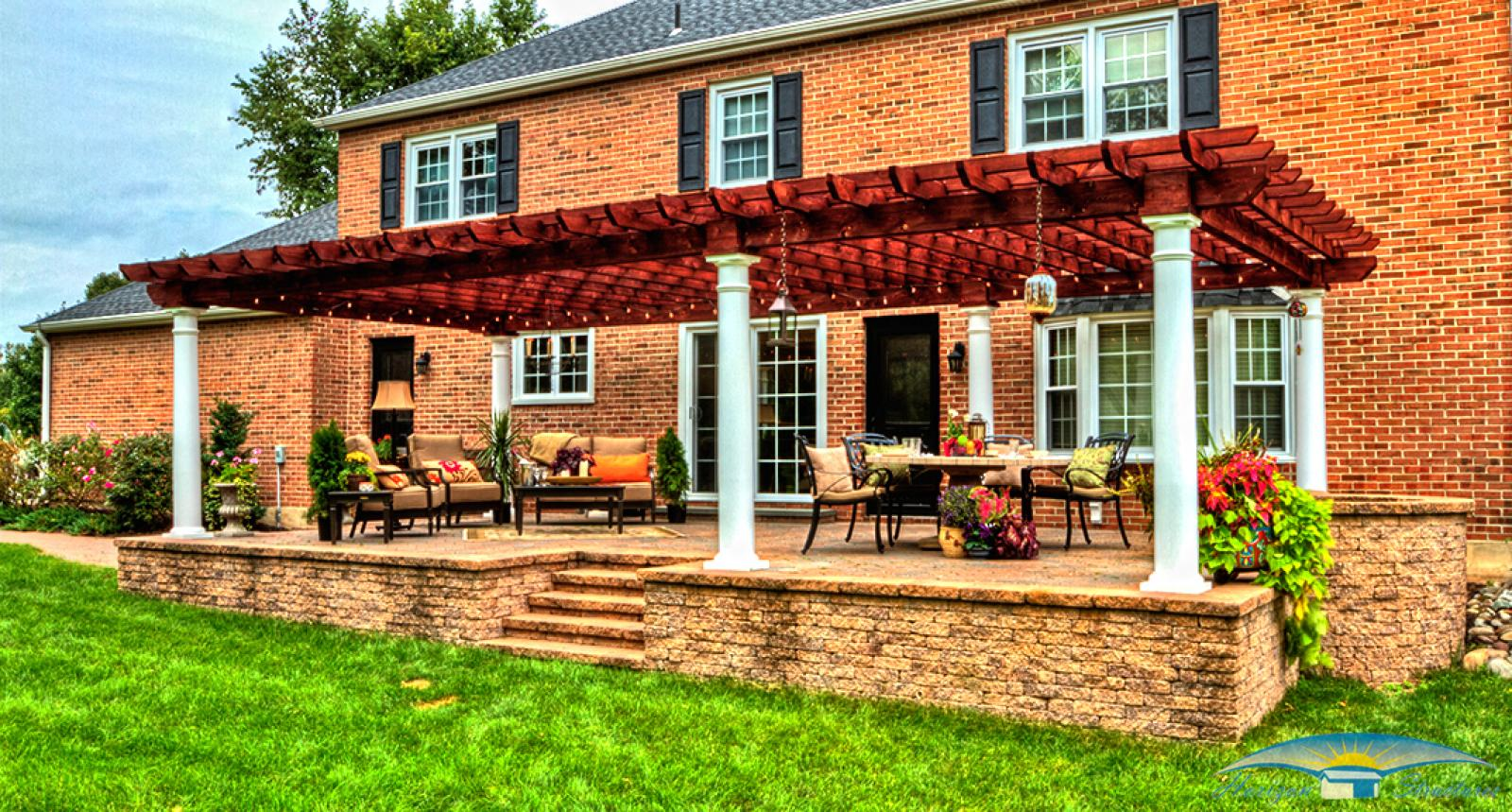 outdoor-living-pergola-artisan-wood-16x32-with-10-inch-round-columns-and-canyon-brown-stain_0