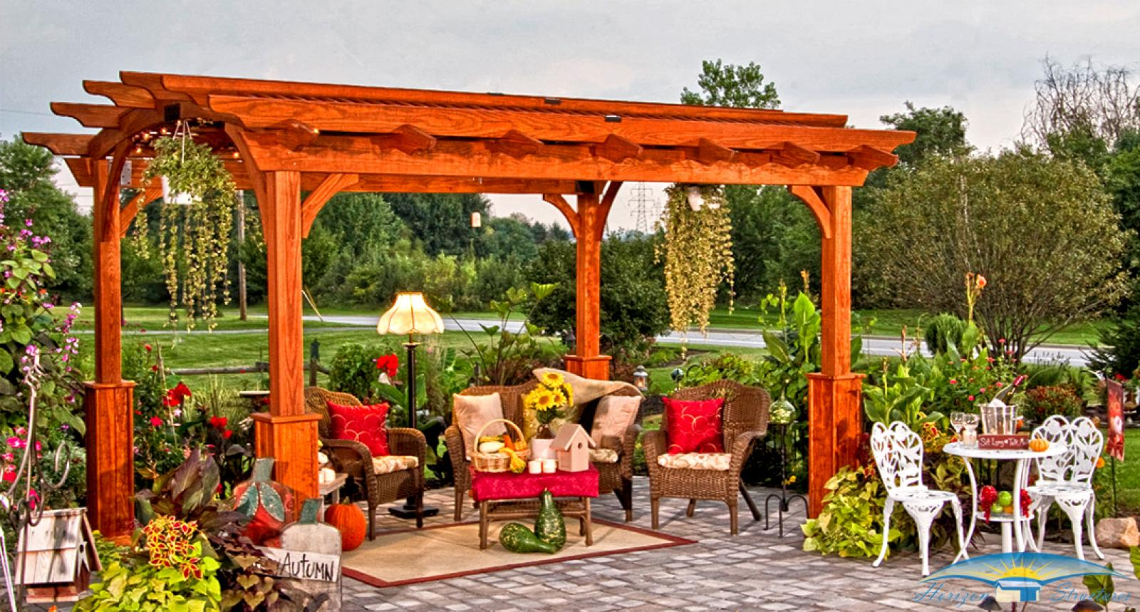 outdoor-living-pergola-hearthside-10 x 13-cedar-stain-lattice-roof-and-superior-posts