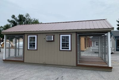 12×24 Six-Box Kennel – $40,120 – Brown Metal Roof