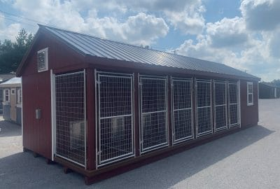 12×32 Six-Box Kennel – $51,475 – Charcoal Metal Roof