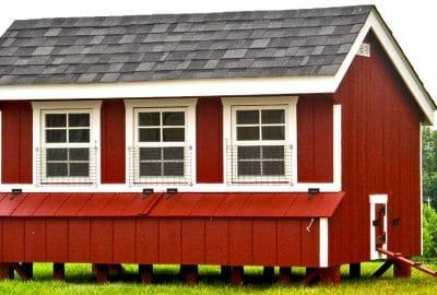 Super Coop with painted wood siding / chicken door