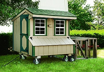 Quaker coop with wheels and chicken run